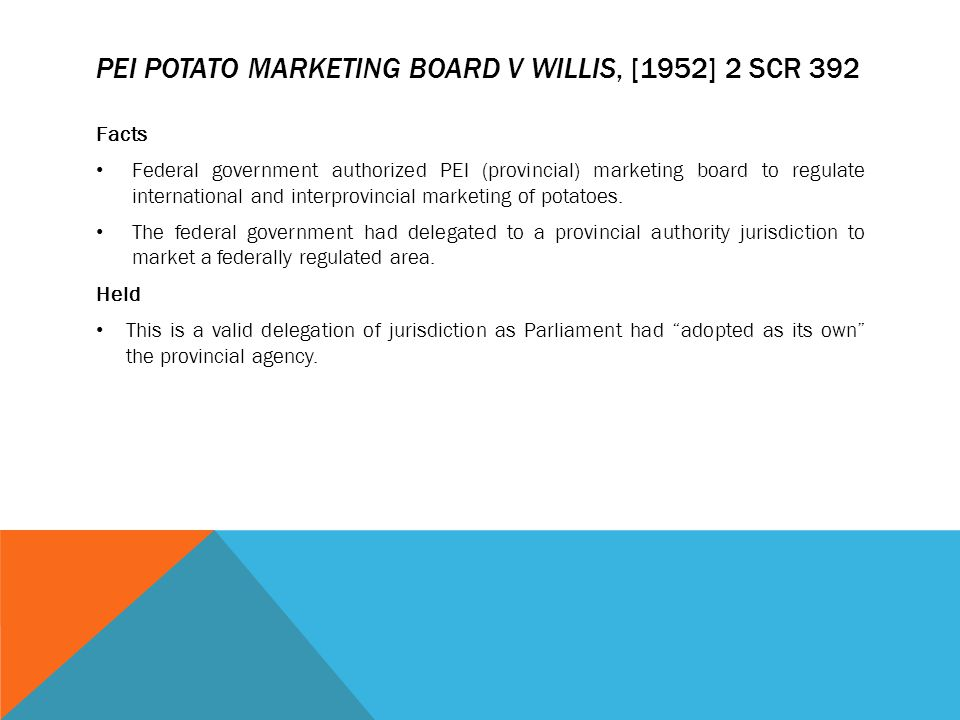 PEI Potato Marketing Board v Willis, [1952] 2 SCR 392